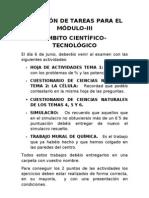 RELACIÓN DE TAREAS PARA EL MÓDULO-III