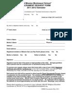 OMMS Sacrament Request Form