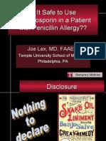 Is It Safe to Use Cephalosporin