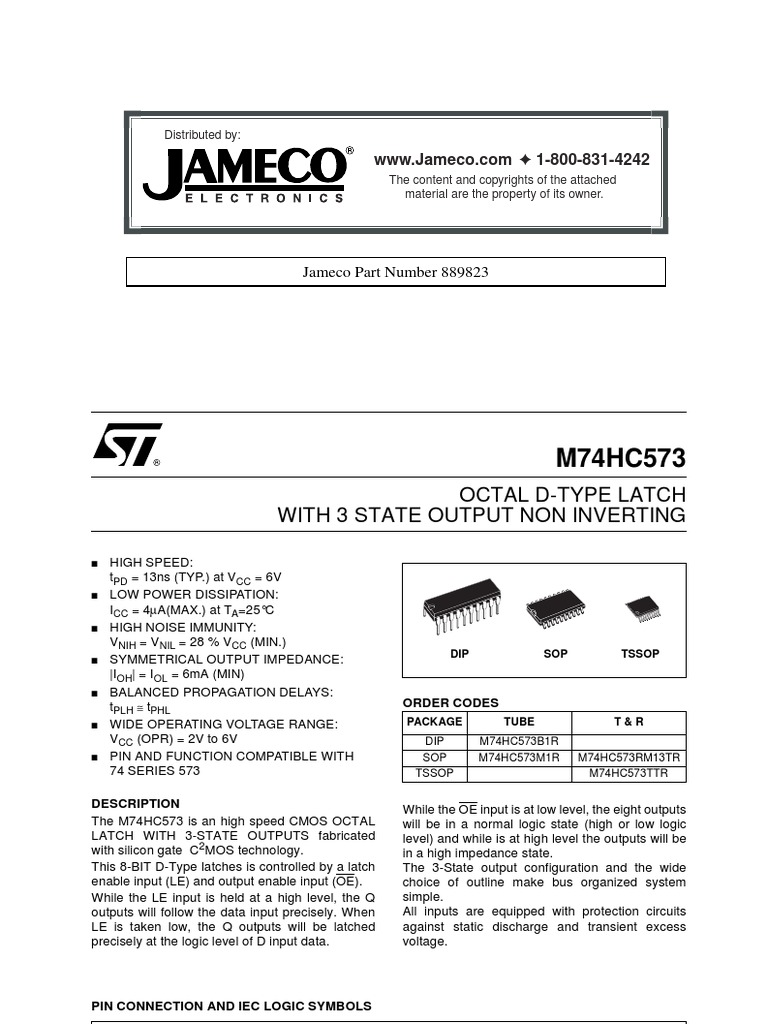Jameco 889823 Octal D Latch Electronic Circuits Electrical High Speed A Converters Components