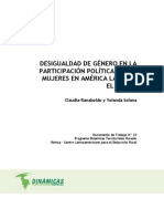 Desigualdad de género en la participación política de las mujeres en América latina