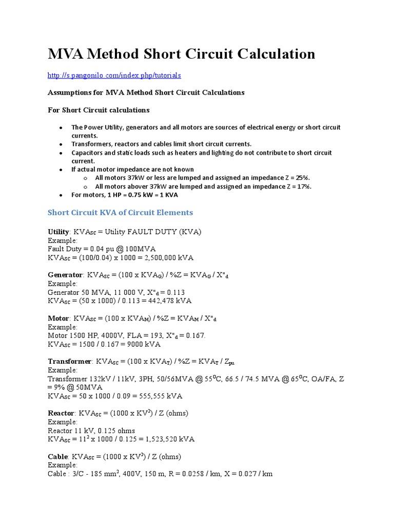 Mva Method Short Circuit Calculation Transformer Cable