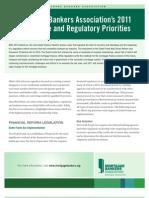 2011 Legislative and Regulatory Priorities