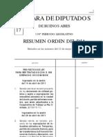 Resumen O.D Sesión 19-05-11 Diputados PBA.