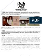 Denver's Cat Care Society - 30th Anniversary Milestones Overview