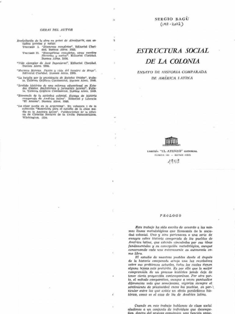 Bagú, Sergio - Estructura social de la colonia