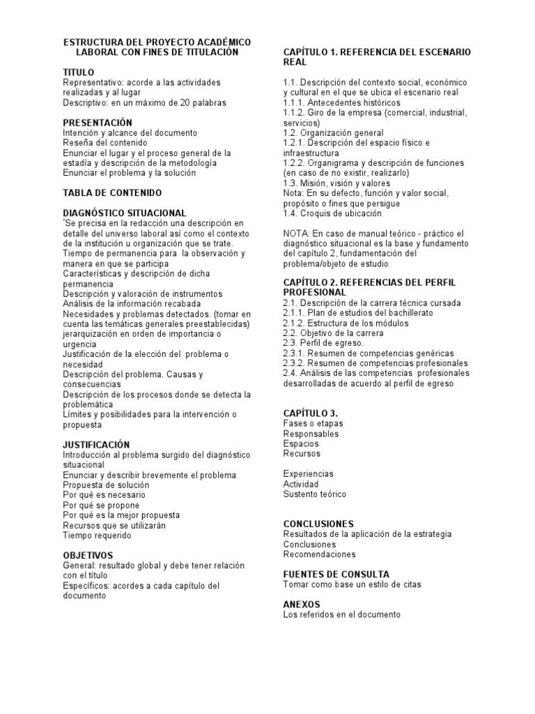 ESTRUCTURA DEL PROYECTO ACADÉMICO LABORAL CON FINES DE TITULACIÓN