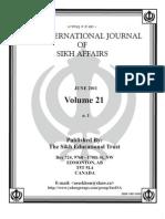 Dr. Awatar Singh Sekhon INTERNATIONAL JOURNAL OF SIKH AFFAIRS