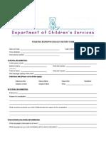 Pediatric Neuropsychology History Form