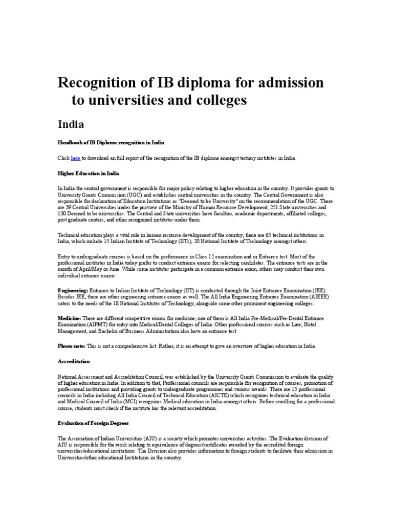 Recognition of IB Diploma for Indian University | University And ...