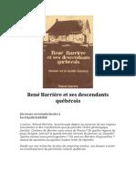 René Barrière et ses descendants québécois par Roland Barrière