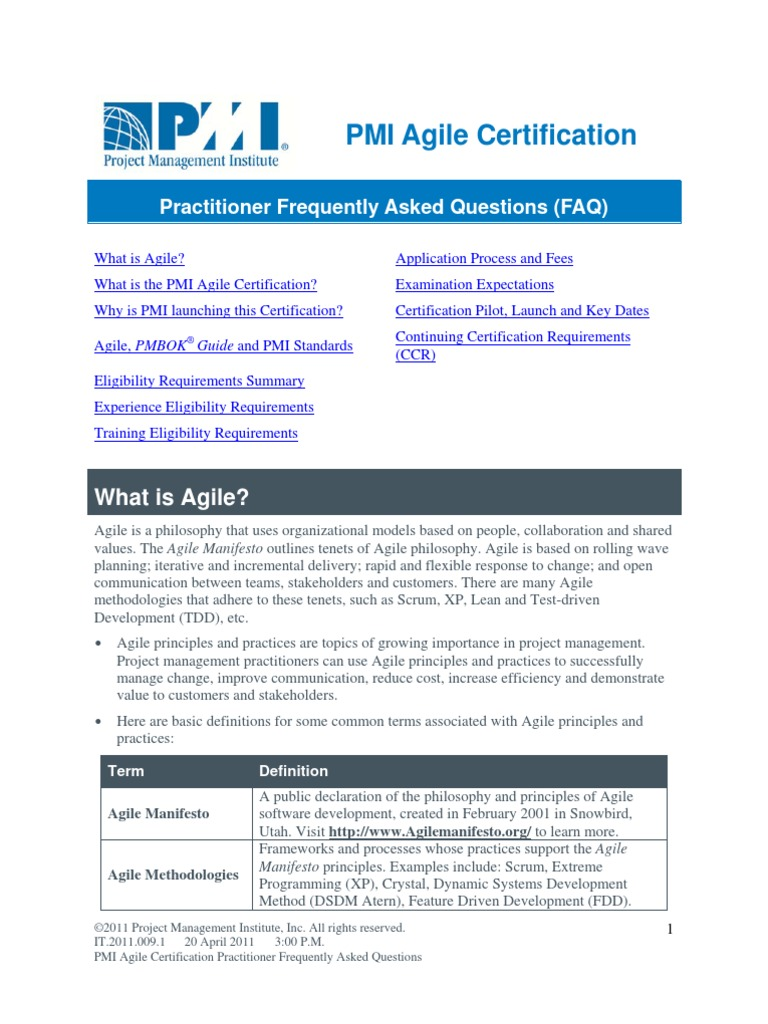 Agil Certification Agile Software Development Project Management