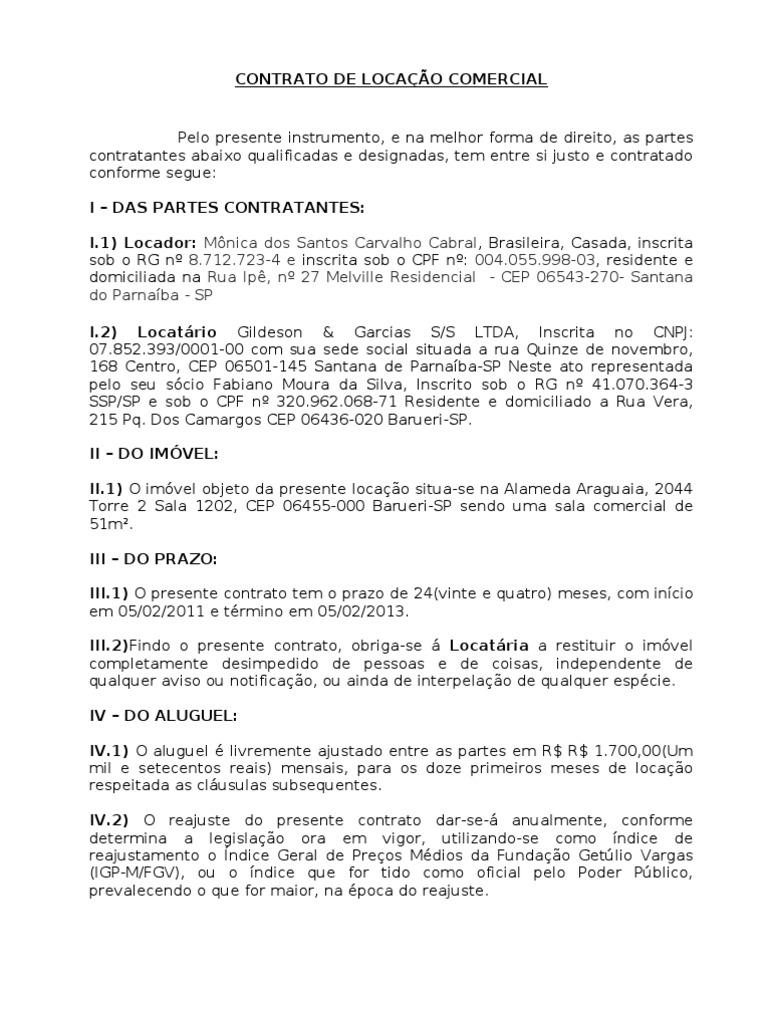 Contrato De Locação Trabalhos De Casa November 2019 Serviço