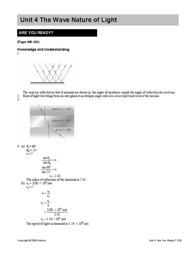 Physics 12 Unit 4 Solns Wavelength Waves