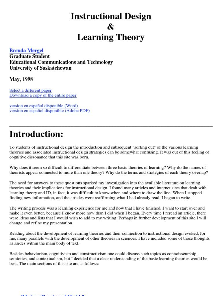 Mergel Constructivism Philosophy Of Education Instructional Design