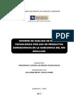 INFORME DE ANÁLISIS DE RIESGO TECNOLÓGICO POR USO DE PRODUCTOS AGROQUIMICOS EN LA SUBCUENCA DEL RÍO SHULLCAS