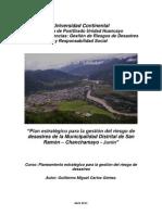 Plan estratégico para la gestión del riesgo de desastres de la Municipalidad Distrital de San Ramón – Chanchamayo - Junín