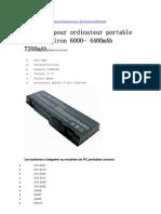 Batterie Pour Ordinateur Portable Dell Inspiron 6000- 4400mAh 7200mAh