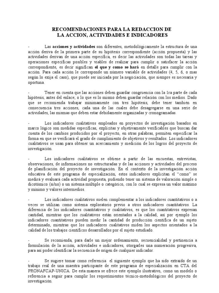 Recomendaciones Para Redacc. de Acciones, Actividades e Indicadores