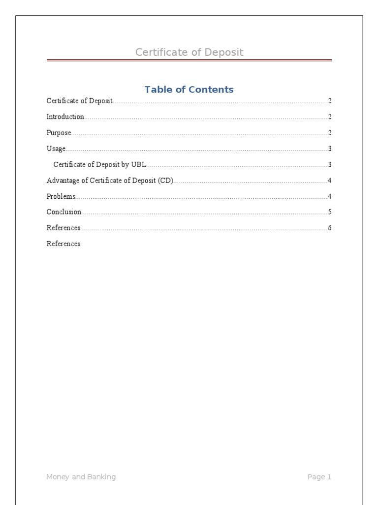 Certificate Of Deposit Certificate Of Deposit Interest