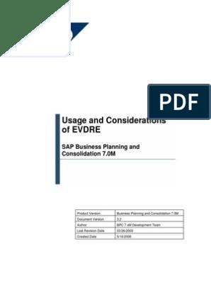 Sap Bpc Excell Evdre | Microsoft Excel | Copyright