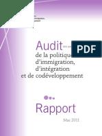 Rapport de l'Audit de la politique d'immigration d'intégration et de codéveloppement