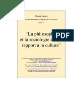 La philosophie et la sociologied et leur rapport à la culture