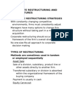 Corporate Restructuring and Divestitures