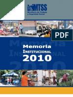 Memoria Institucional MTSS 2010