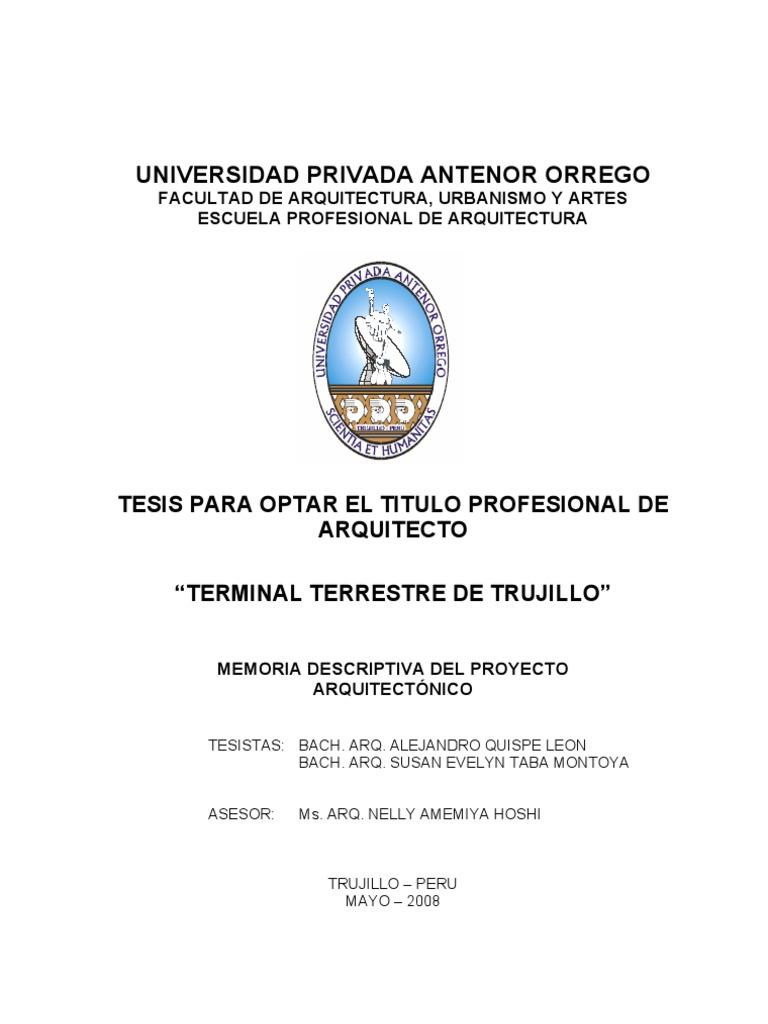 Faua upao memoria tesis terminal terrestre trujillo 1era for Tesis de arquitectura ejemplos