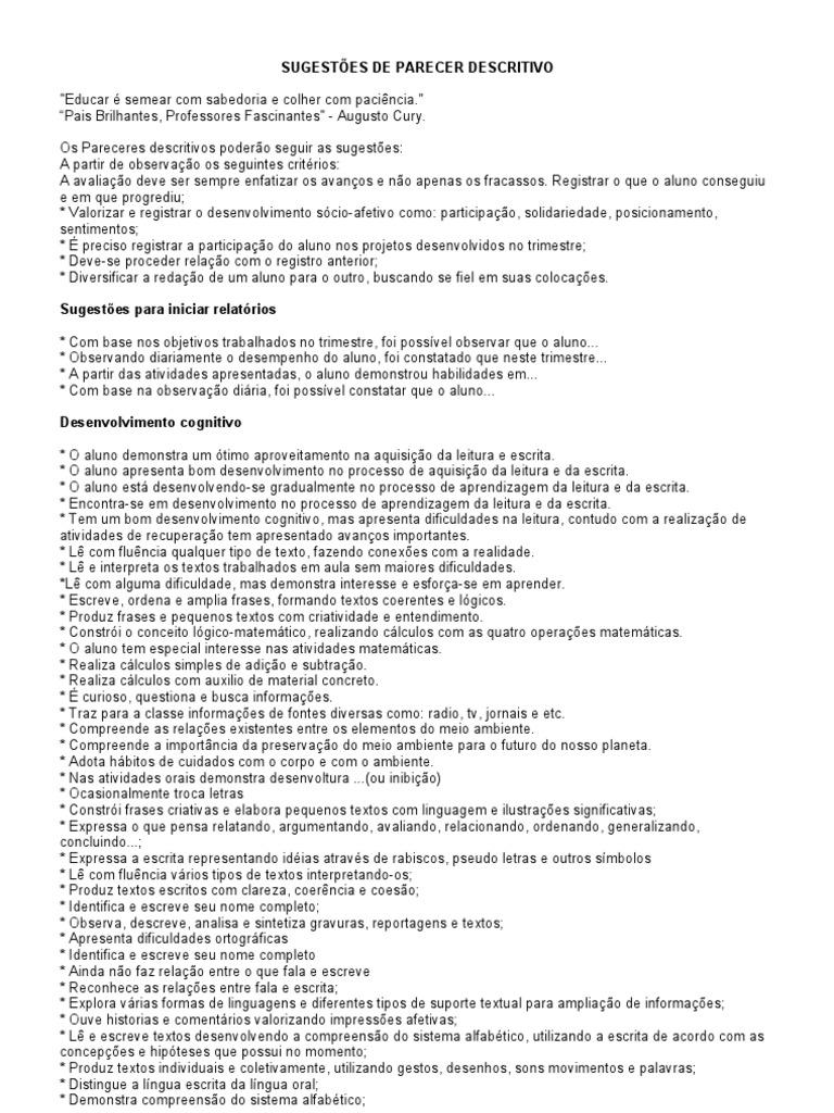 Amado SUGESTÕES DE PARECER DESCRITIVO GM62