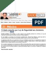 16-05-11 Evitará consulta que Ley de Seguridad sea electorera
