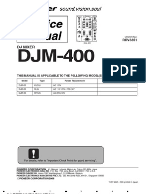 Pioneer DJM-400 Service Manual | Electrical Connector