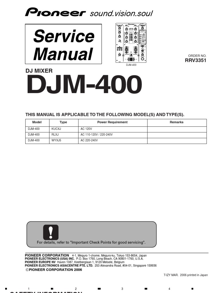 Pioneer Djm 400 Service Manual Microphone Electrical Connector Dj 5a Wiring Diagram