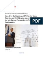 Speech by President Barack Obama, CIA Director Leon Panetta and DNI Director James Clapper to the Intelligence Community at CIA Headquarters