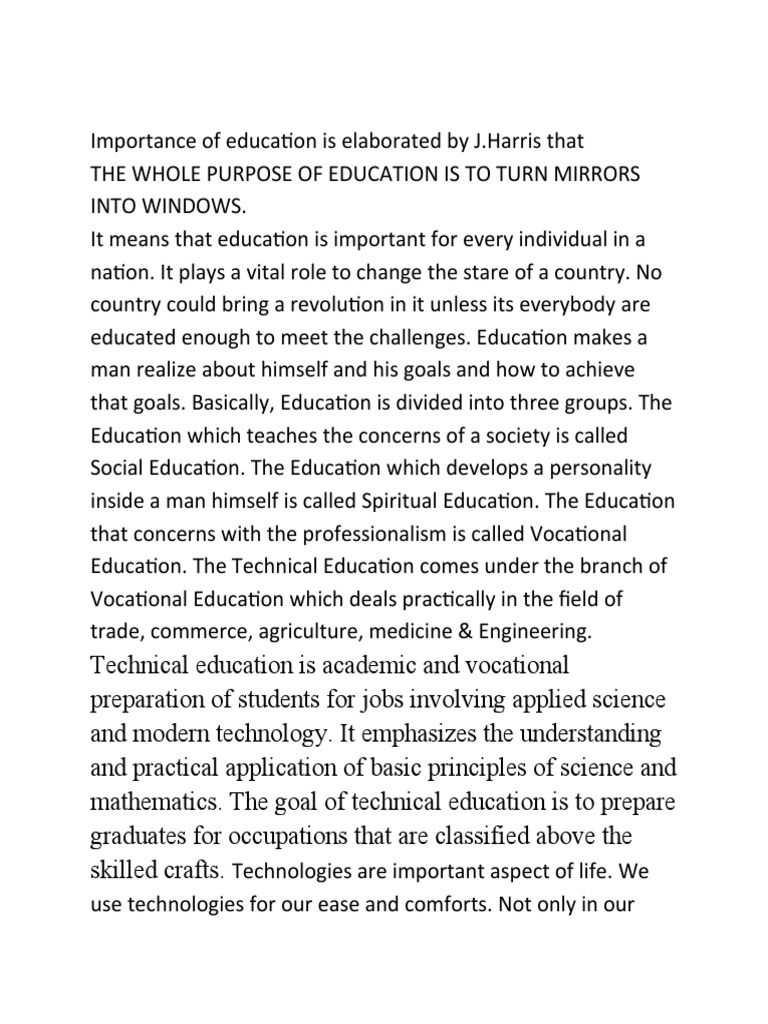 technical education 4 essay The purpose of the branch is to plan, develop, monitor, maintain and evaluate national policy, programmes, assessment practices and systems for vocational and continuing education and training, including for technical and vocational education and training (tvet ) colleges and community education and training colleges.