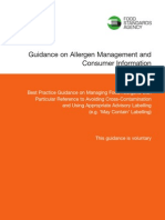 FSA Guideline Allergens Management