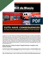 Public Advocate de Blasio Report on FDNY Budget