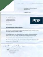 Maviddapuram - Letter to the Mahinda Rajapakse, President of Sri Lanka