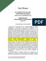 Paul Ricoeur - El conflicto de las interpretaciones 2da parte Psicoanálisis y hermenéutica (fragmento)