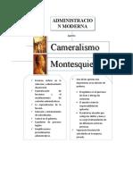 Administración Moderna - cuadro comparativo aportes Cameralistas y Montesquieu a la Administración