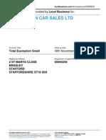 DERRINGTON CAR SALES LTD  | Company accounts from Level Business