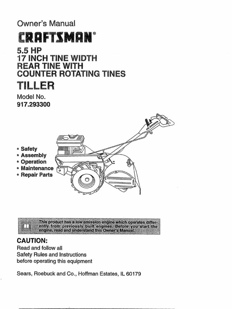 craftsman 5hp rear tine tiller manual