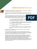Sobre la Reforma de la Educación