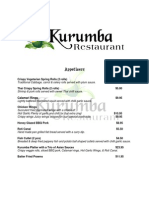 Kurumba Restaurant Menu