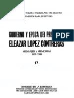 Tomo 17. Gobierno y época del presidente Eleazar López Contreras. Mensajes y memorias (1935-1941)