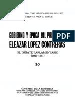 Tomo 20. Gobierno y época del presidente Eleazar López Contreras. El debate parlamentario  (1936-1941)
