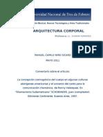 Reseña sobre artículo de Ronny Velázquez, Arquitectura Corporal