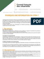 Pourquoi une refondation du CFDU ?