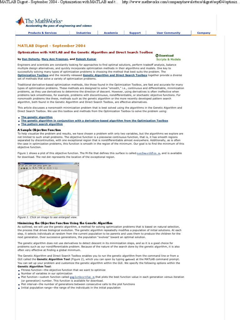 Optimization With Ga Toolbox | Genetic Algorithm